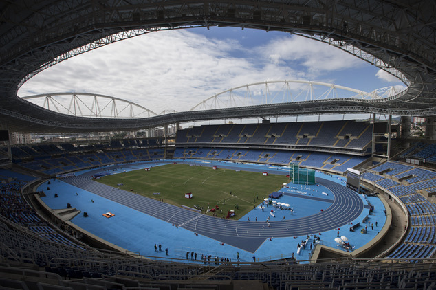 General view of the Rio Olympic Stadium during the Men's 3000m steeplechase final Athletics test event in Rio de Janeiro, Brazil, Saturday, May 14, 2016. The track and field test event is the last of more than 40 tests events for the Rio de Janeiro Olympics with the games opening in less than three months. The three-day test event ends Monday at Olympic Stadium in the northern neighborhood known as Engenho de Dentro. (AP Photo/Felipe Dana)